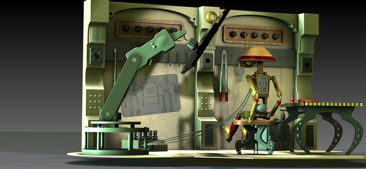 Scena Renderwoania wykonana w programie 3D CAD