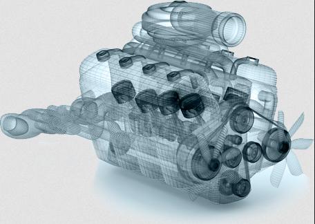Program 3D CAD przedstawia model silnika wykonany w SharkCAD Pro