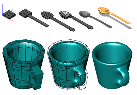 Subdivision modelowanie organiczne z wielokątów.  Model kubka  łyżki wykonany w programie CAD