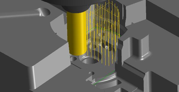 Obróbka 2D wgłębna służy do zbierania zgrubnego w szybkim czasie ruchem pionowym materiału.