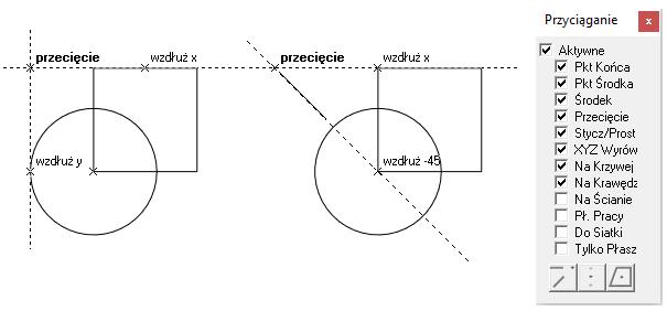 Przyciąganie podczas szkicowania w programach cad