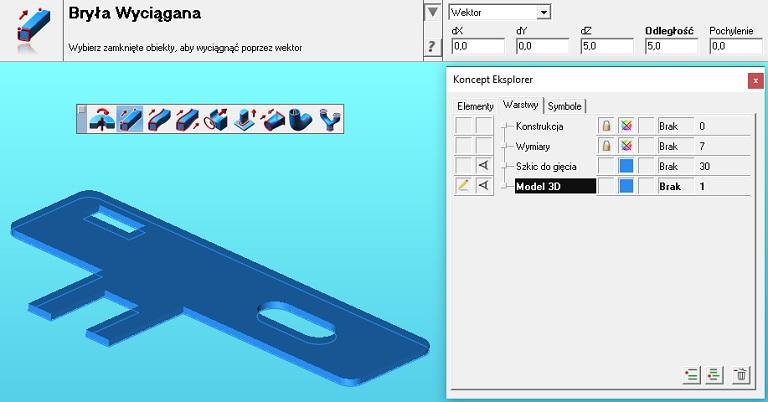 Wyciągnięcie modelu 3D ze szkicu 2D