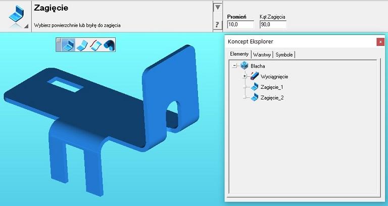 Programy CAD i gięcie modelu elementu 3D