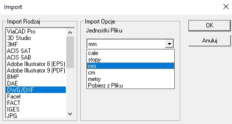 Import formatów dwg dxf w ViaCAD lub SharkCAD