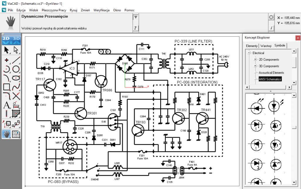 Projekt schematu elektrycznego wykonany w systemie CAD ViaCAD