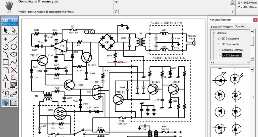 Projekt schematu elektrycznego wykonany w programie ViaCAD