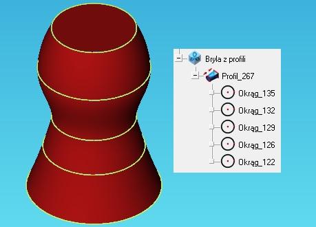 Modelowanie bryłowe. Bryła 3D utworzona z profili 2D.